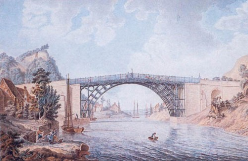 'View of the Cast Iron Bridge near Coalbrookdale' by Michael Angelo Rooker and William Ellis painted in 1782.