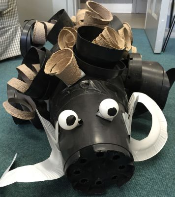 Ethan made a giant ram from recycled plant pots