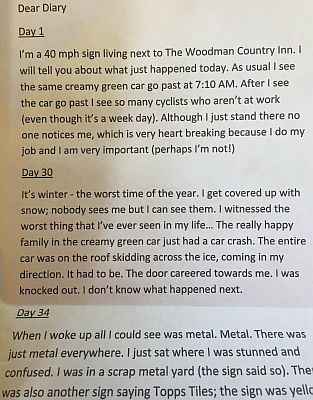 "Extract from Tom's ""Diary of a 40mph Sign"" story"
